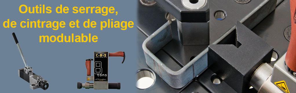 outil de serrage, cintrage et de pliage modulable